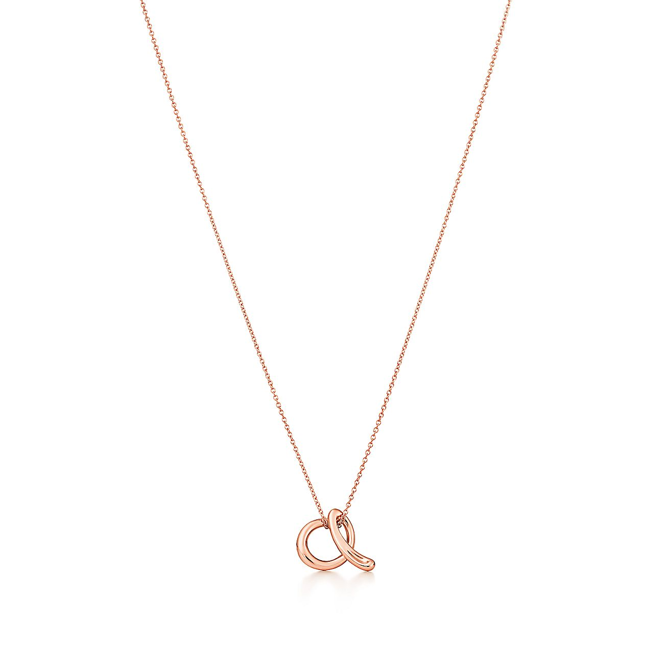 elsa perettir alphabet pendant in 18k rose gold letters a With elsa peretti letter necklace