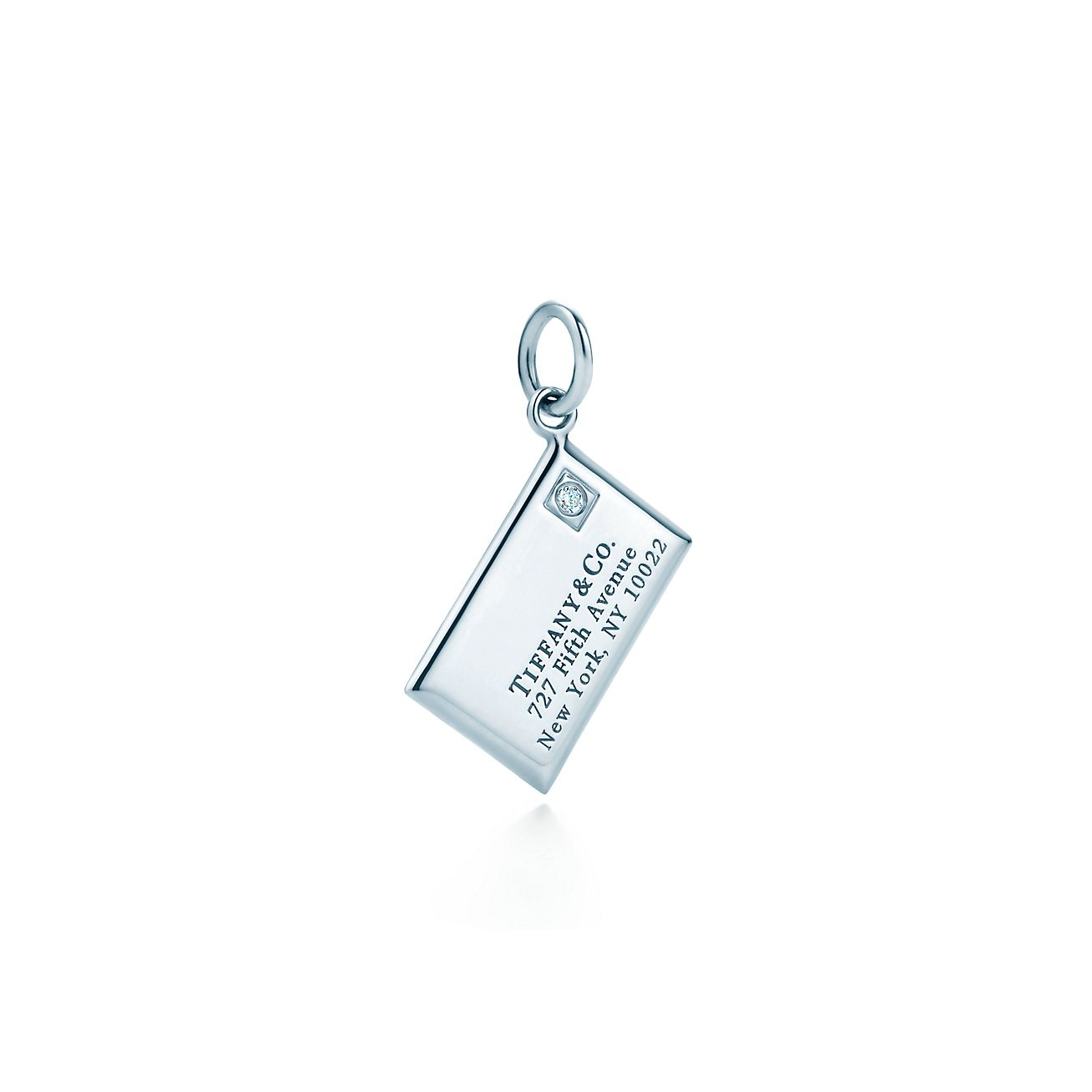 envelope charm with a in sterling silver