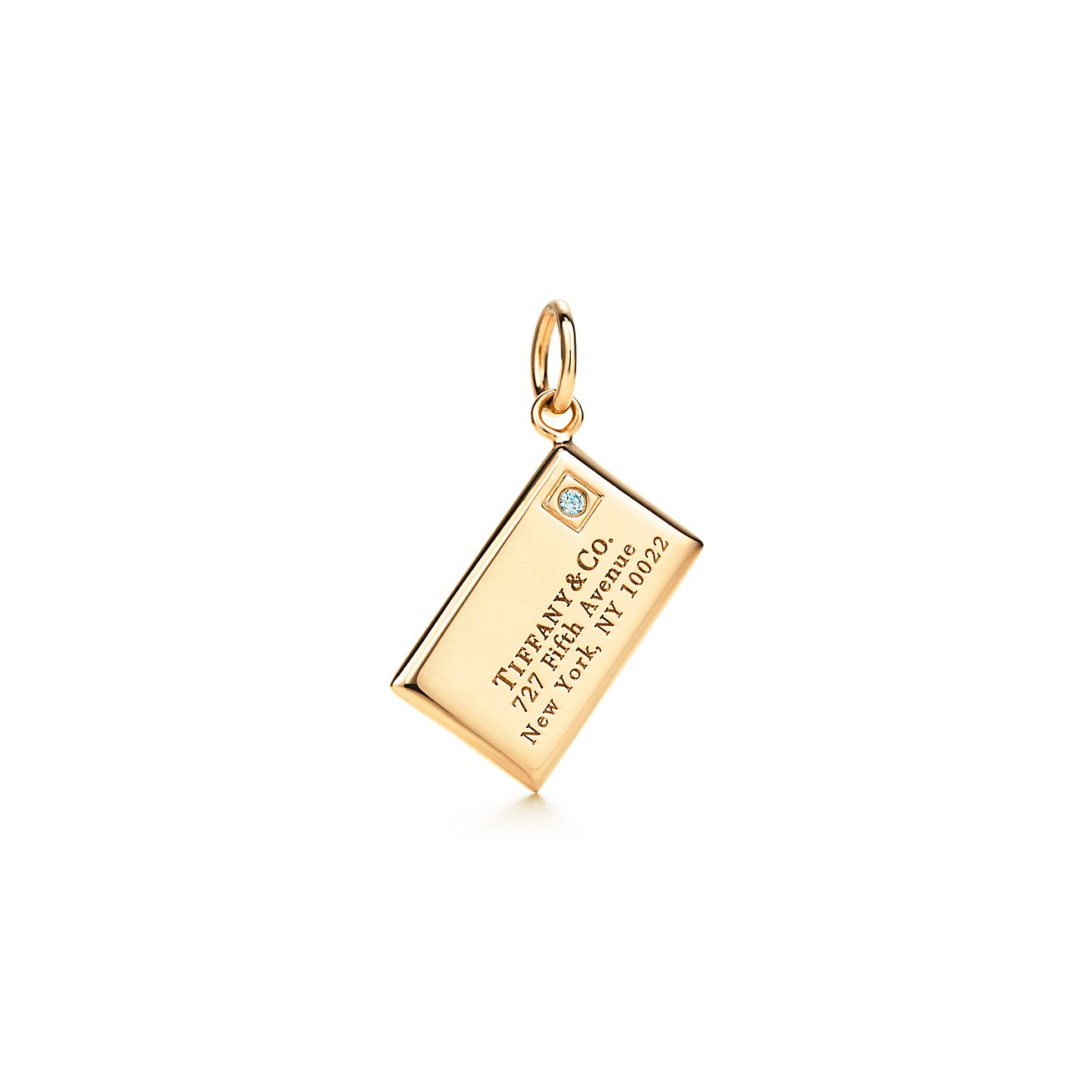 envelope charm with a in 18k gold co