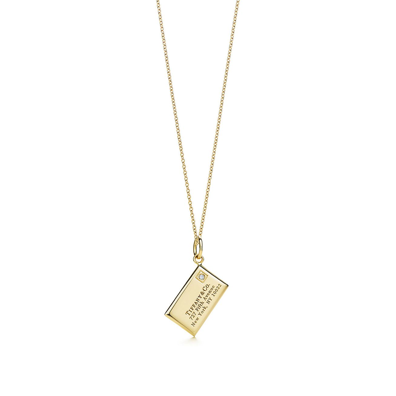 envelope charm with a in 18k gold on a chain