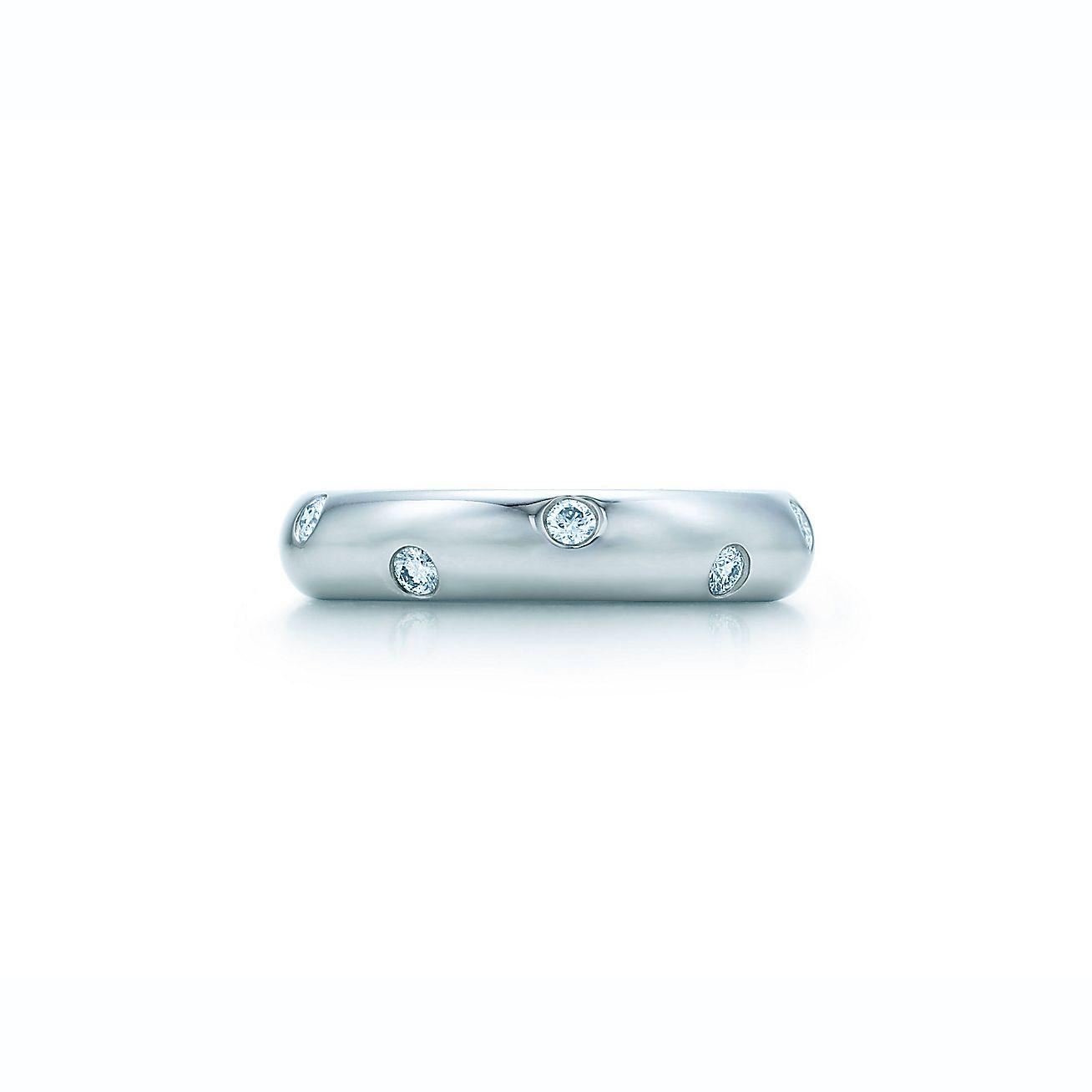 Tiffany Co Platinum Lucida 2mm Wedding Band Ring Sz 8: Etoile Band Ring With Diamonds In Platinum.
