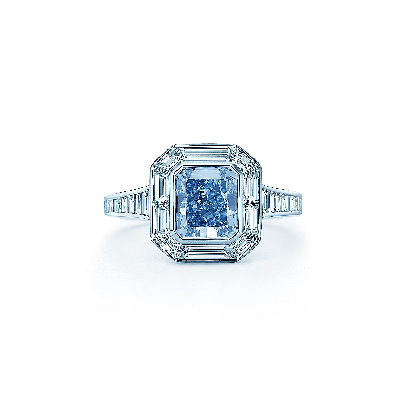 Fancy Intense Blue diamond ring in platinum with white diamonds. | Tiffany  & Co.
