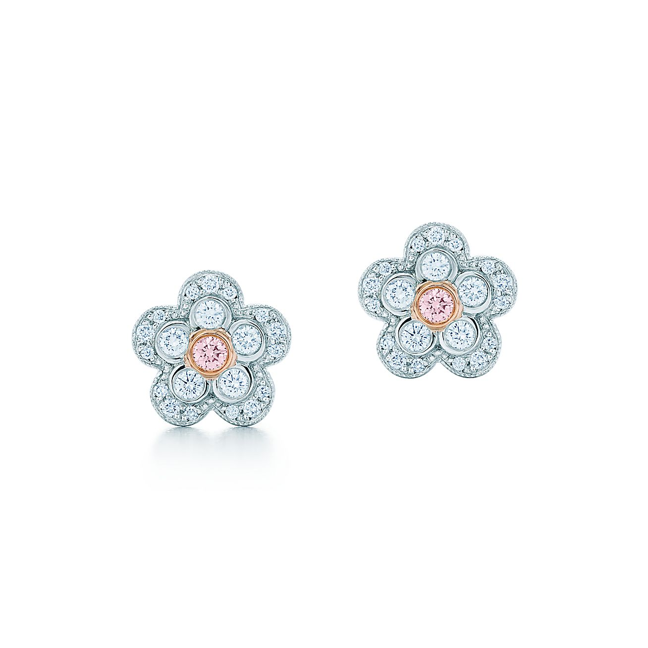 Diamonds Tiffany Co Flower Earrings In Platinum And Rose Gold With  White Fancy