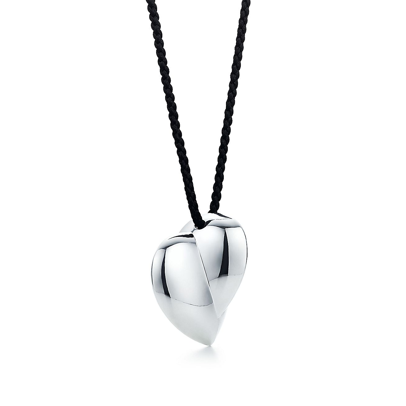 Frank Gehry Hearts Pendant In Sterling Silver On A Black