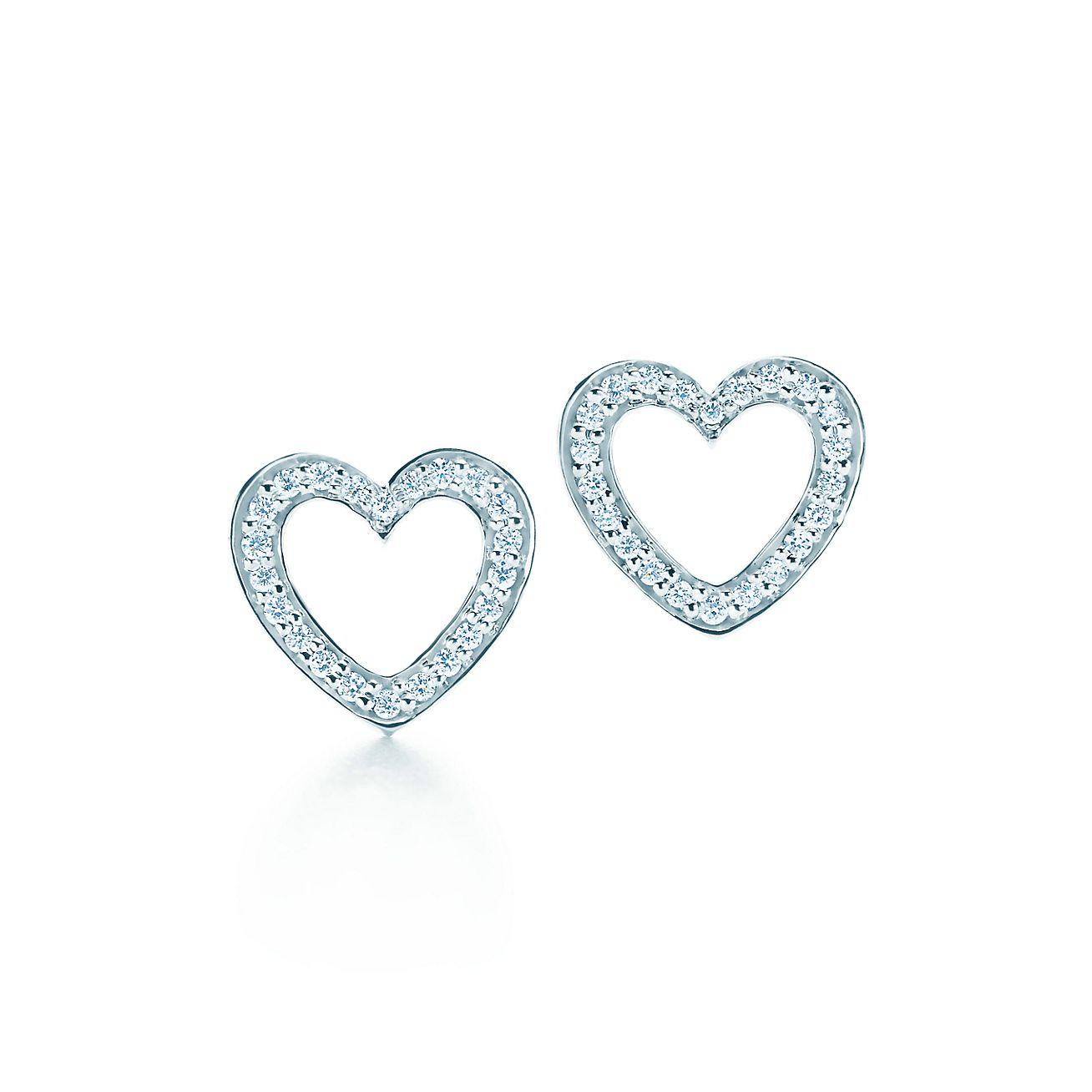 Diamond heart earrings - Heart Earrings