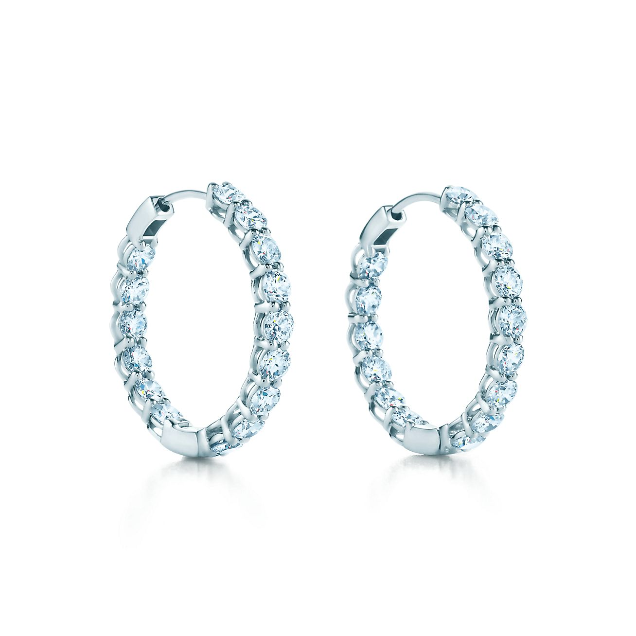 hoop earrings in platinum with diamonds medium tiffany