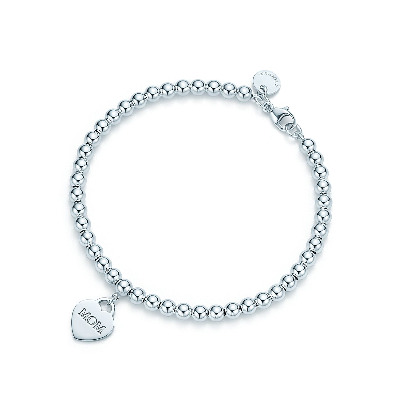 Mom heart tag in sterling silver on a bead bracelet, large