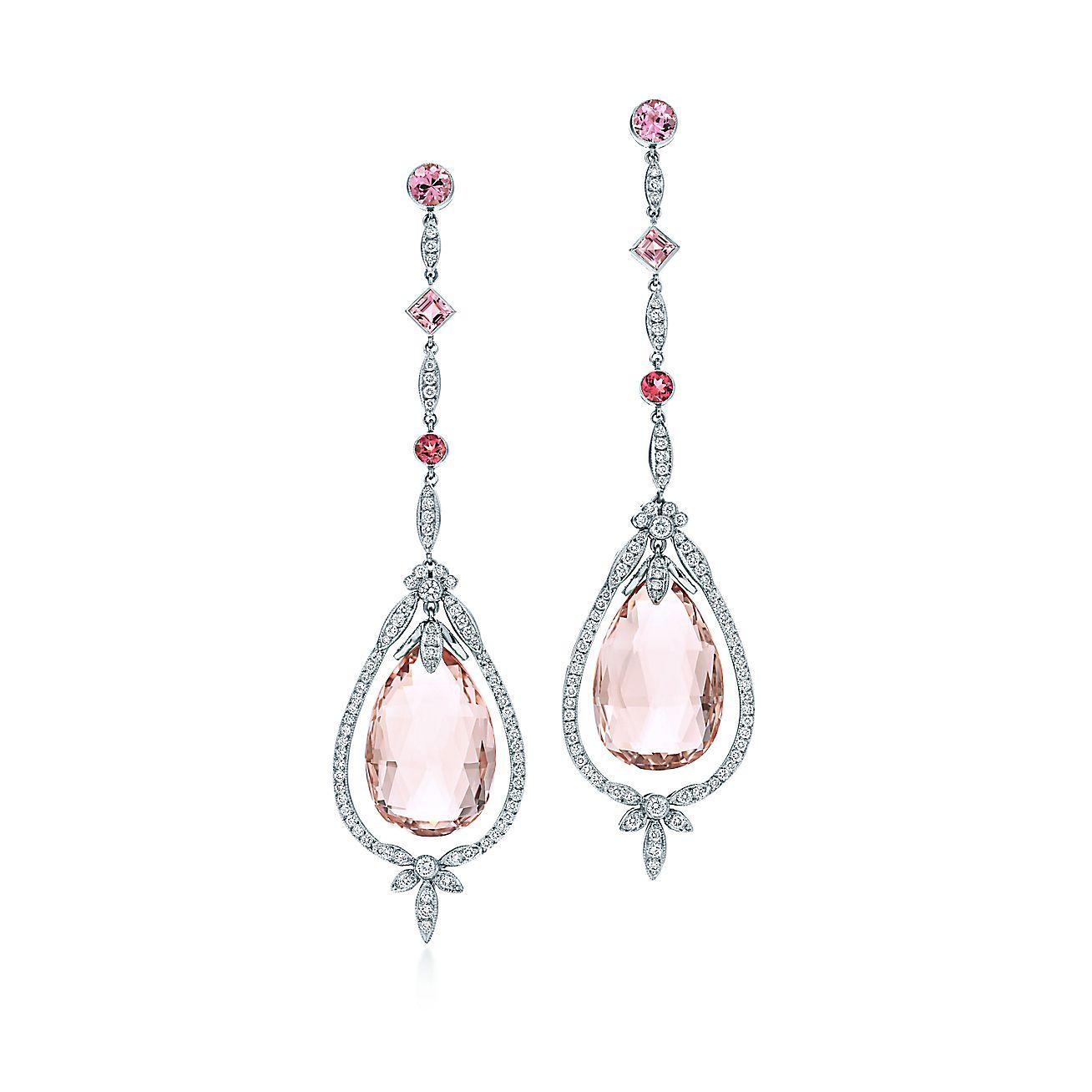 Morganite teardrop and diamond earrings with pink