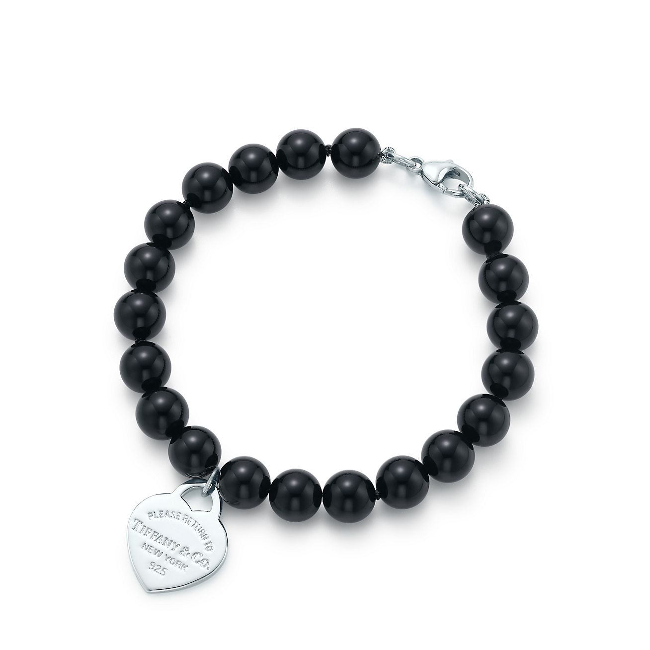Tiffany Heart Bracelet >> Return to Tiffany® small heart tag in silver on a black onyx bead bracelet. | Tiffany & Co.