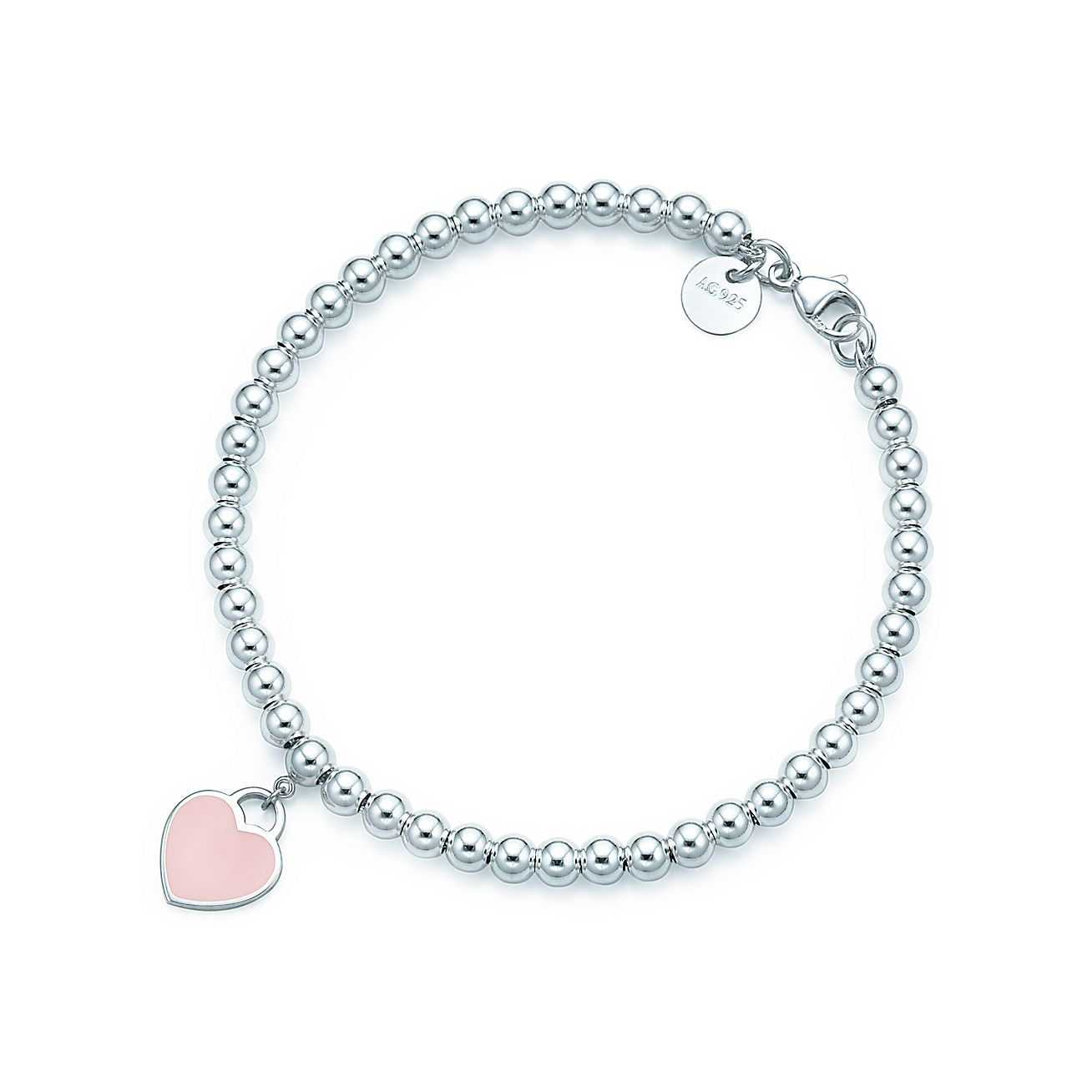 return to tiffany bead bracelet in silver with pink. Black Bedroom Furniture Sets. Home Design Ideas