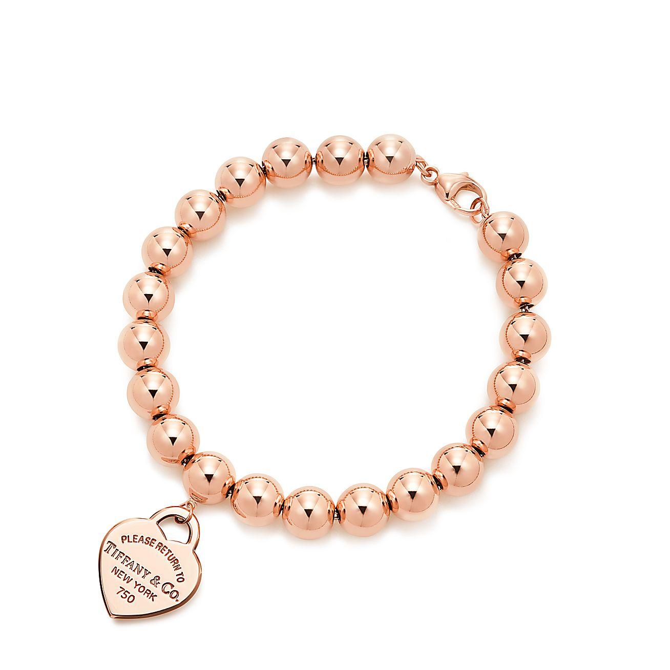 return to tiffany small heart tag in 18k rose gold on a bead bracelet medium tiffany co. Black Bedroom Furniture Sets. Home Design Ideas