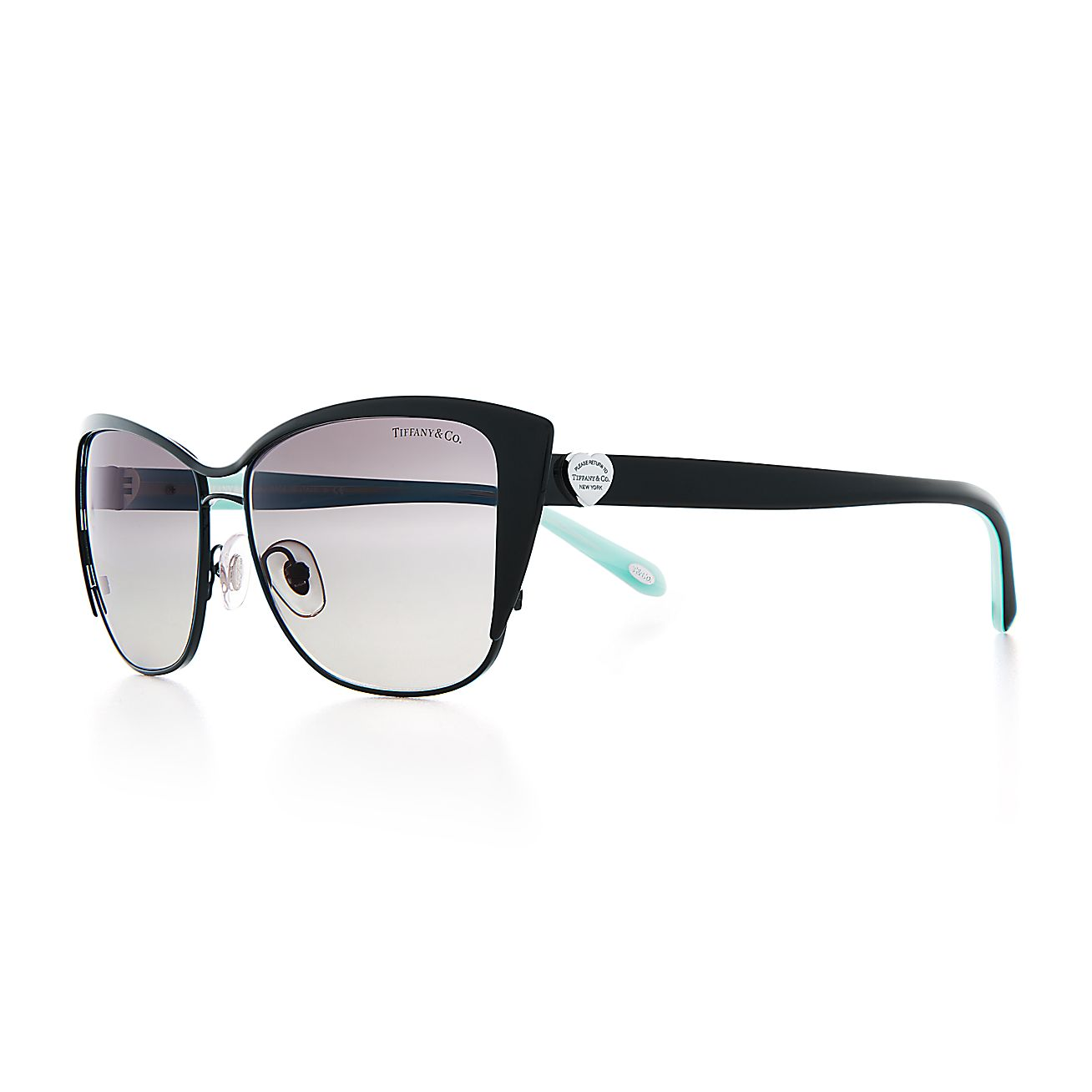 3917372af4e6 Return to Tiffany® cat eye sunglasses in black metal and acetate.