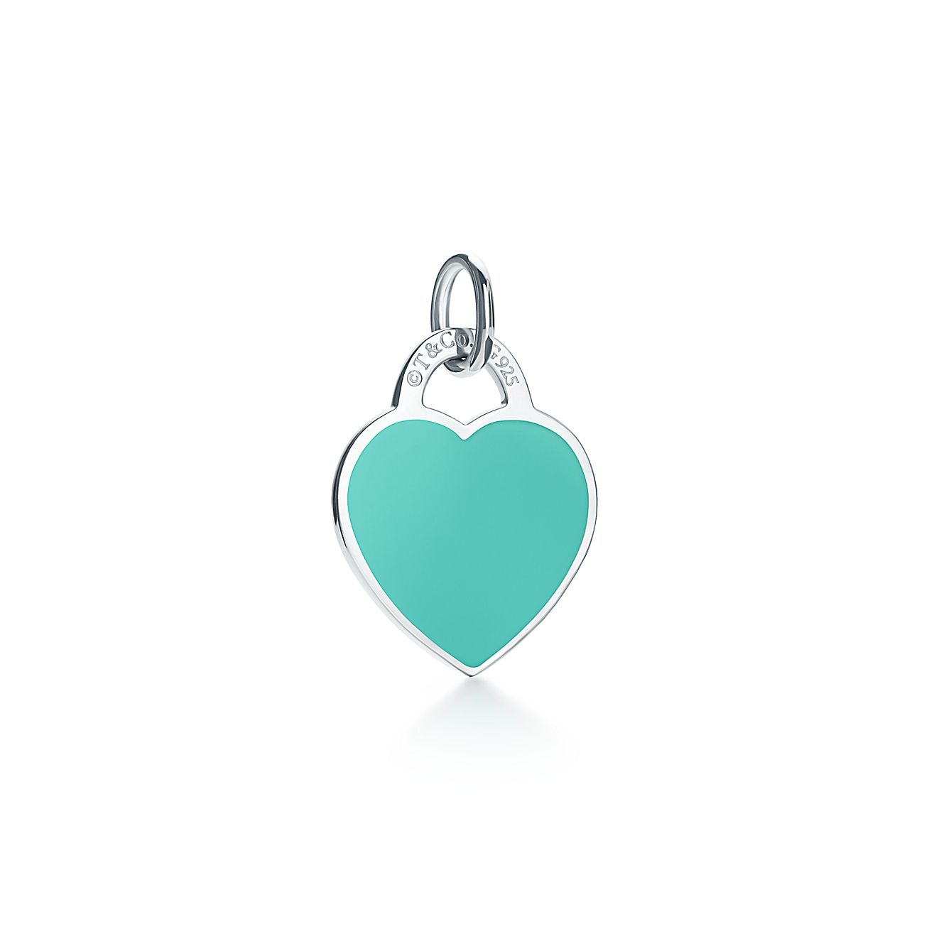 Return To TiffanyR Heart Tag Charm In Sterling Silver With Enamel Finish Small