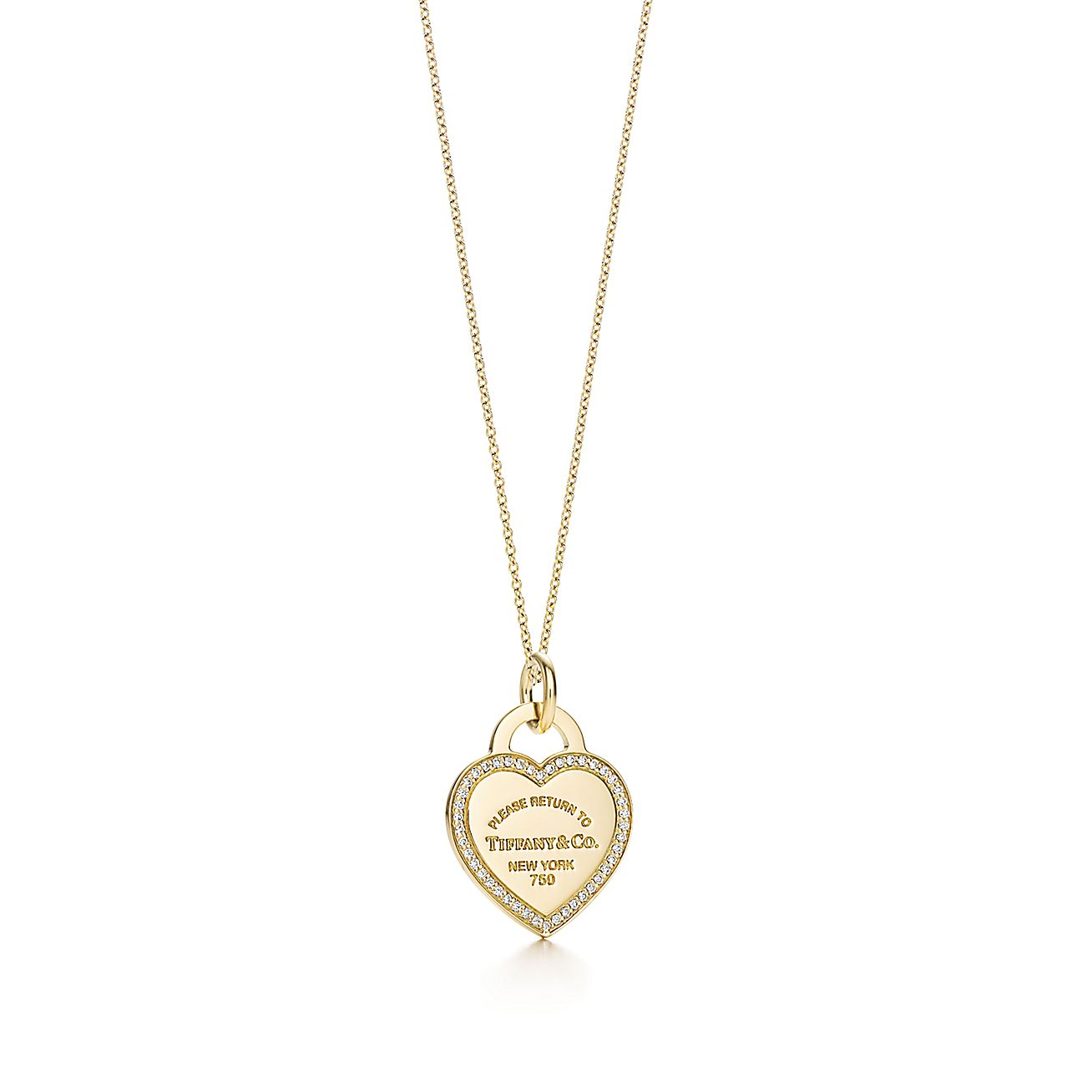 Return to Tiffany™:heart tag charm and chain