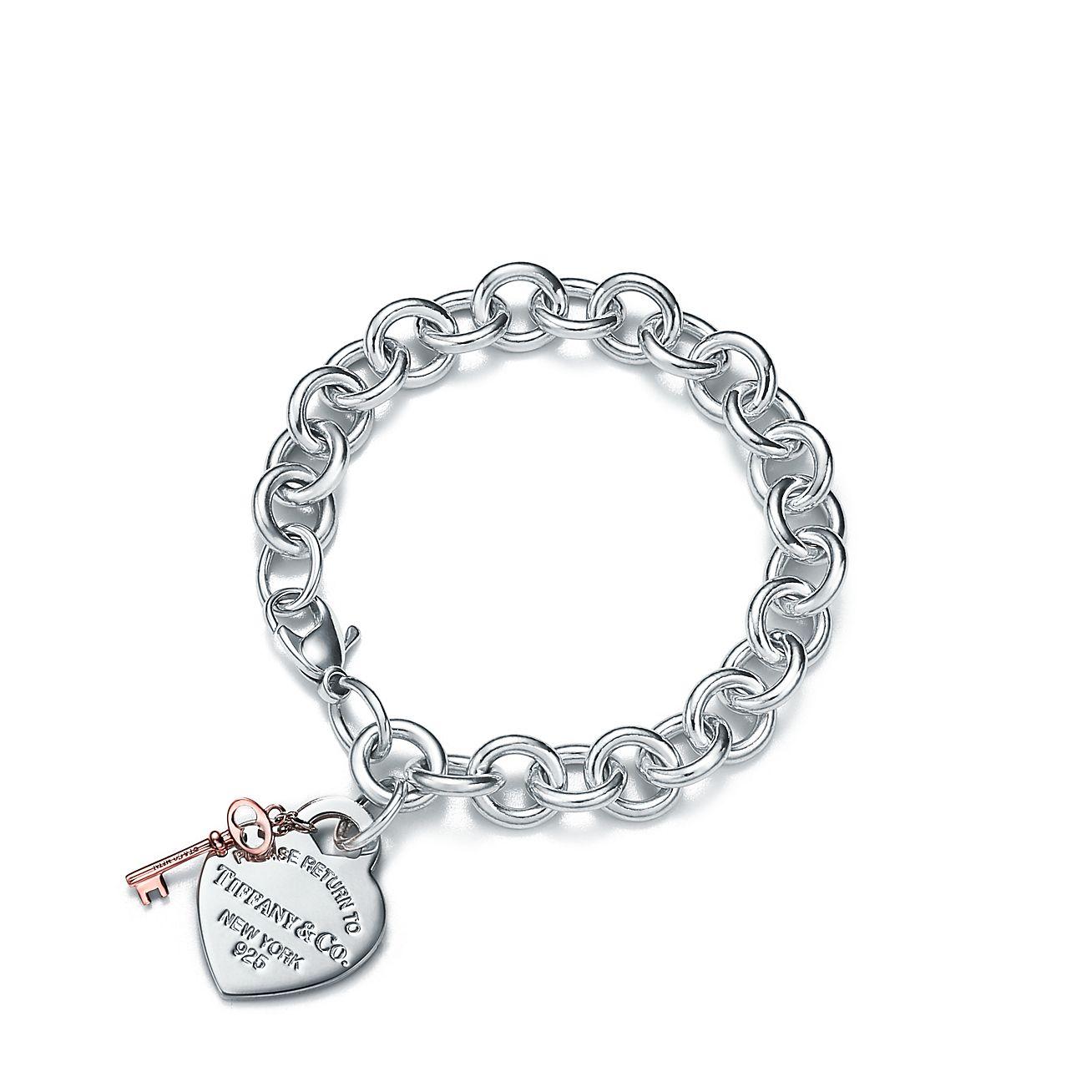 return to tiffany heart tag key bracelet in sterling