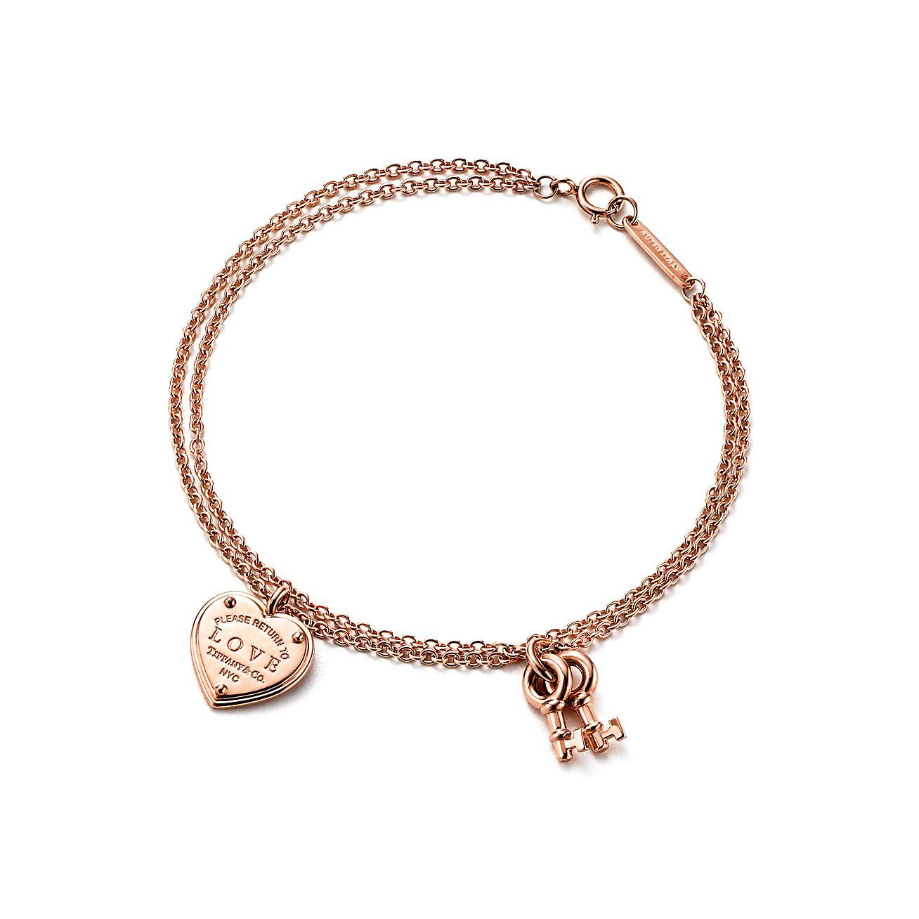 Return to Tiffany® Love heart tag key bracelet in 18k rose ...