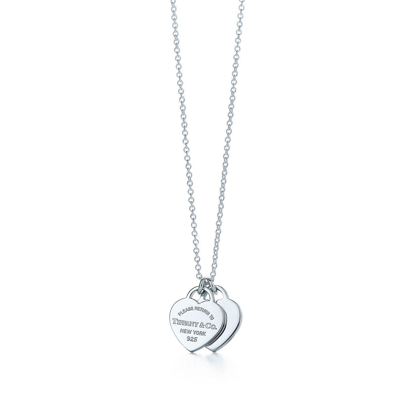 Return to Tiffany® mini double heart tag pendant in ...