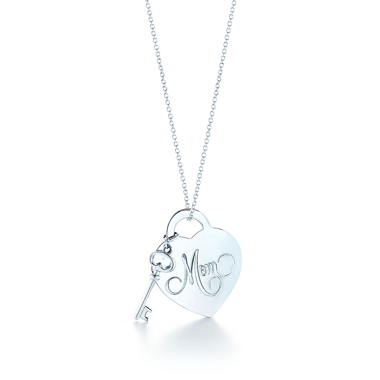 Return to Tiffany® Mom heart tag with key pendant in