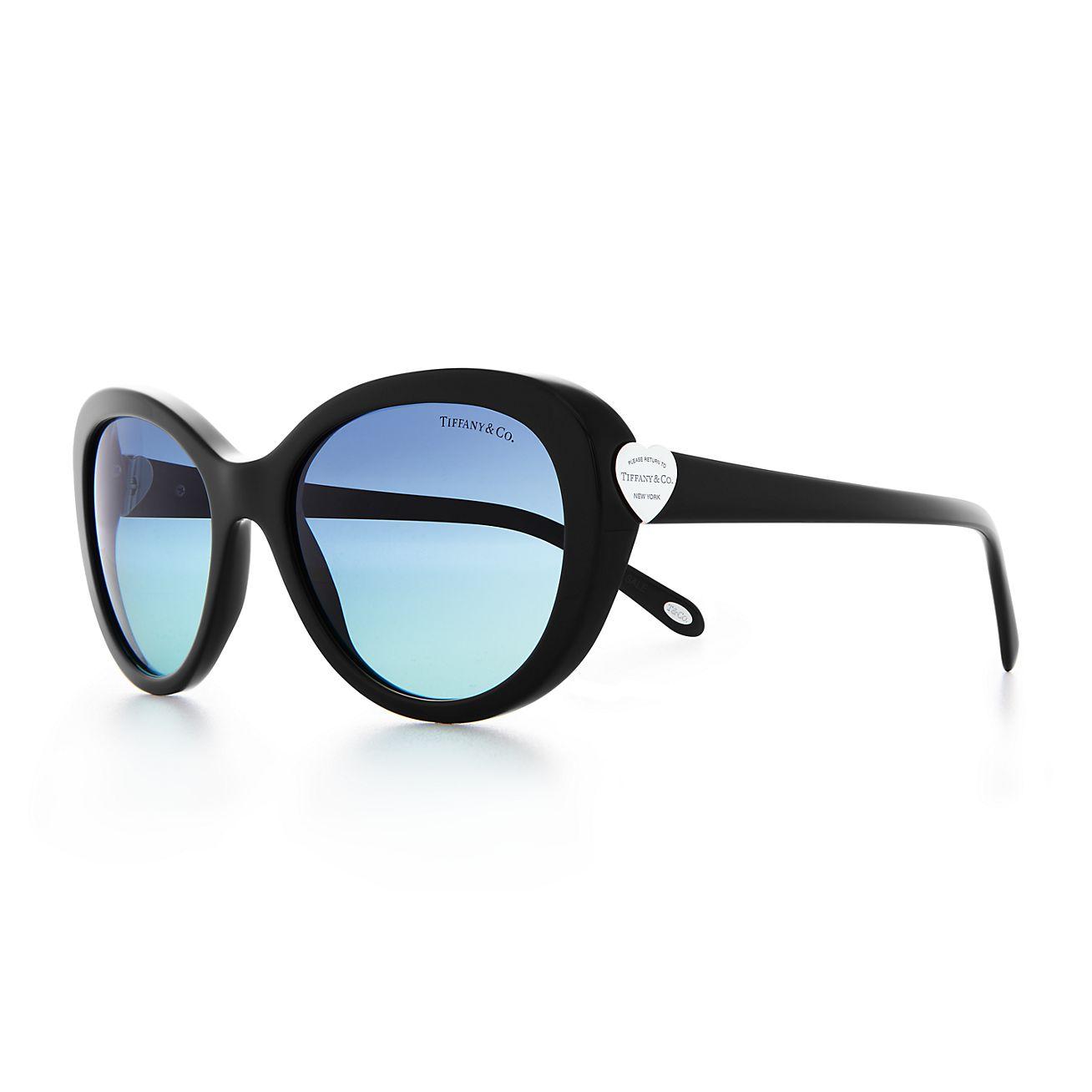 Return to Tiffany® oval sunglasses in black acetate ...