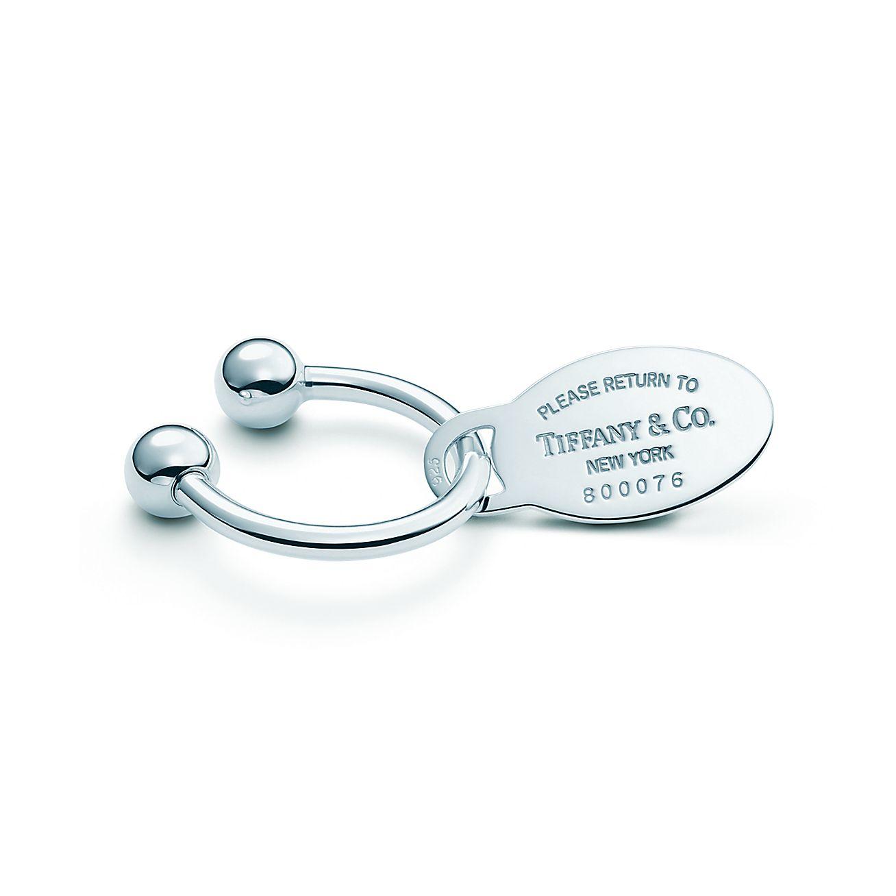 Return To TiffanyR Oval Tag Key Ring In Sterling Silver