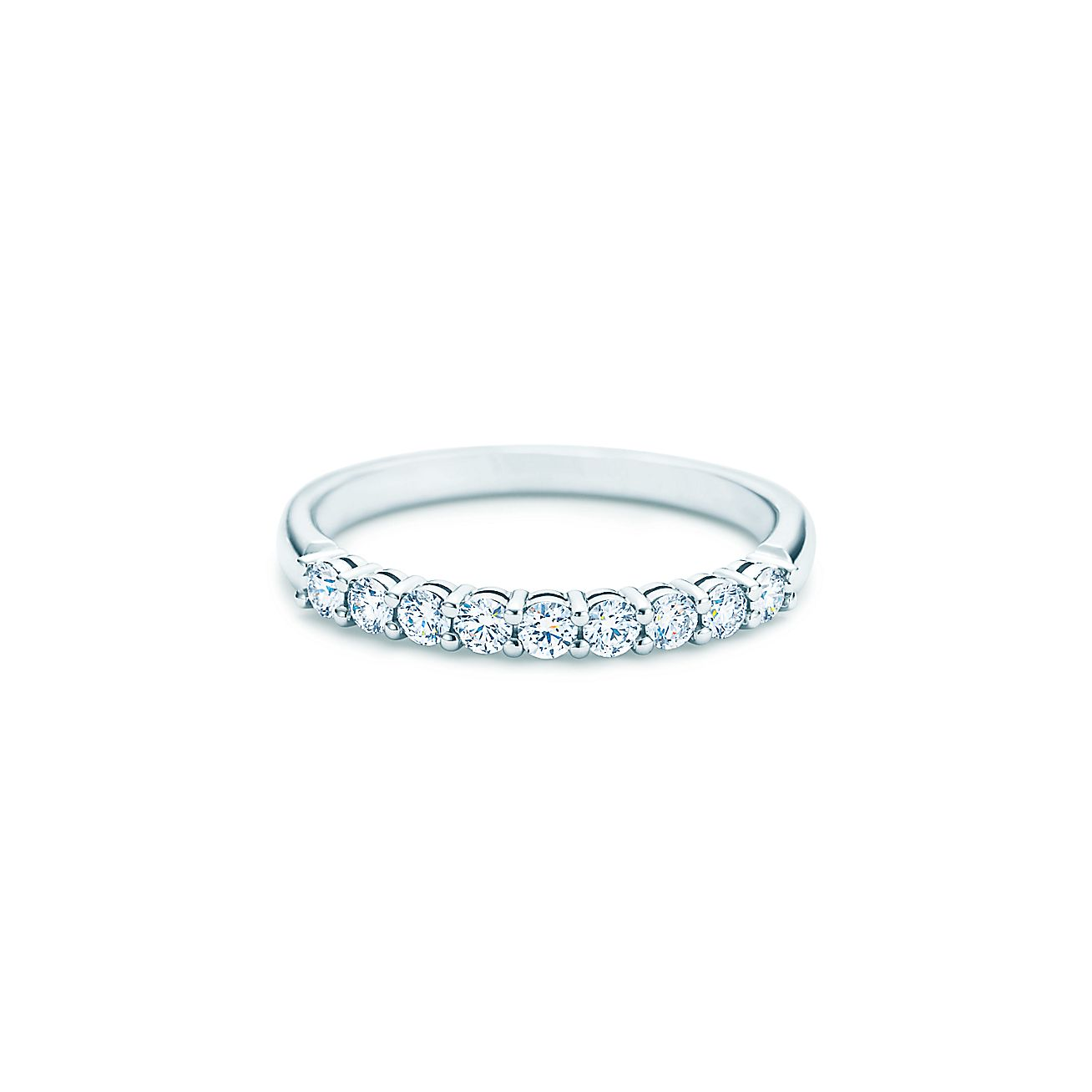 Shared setting band ring with diamonds in platinum 22mm for Tiffany weddings rings