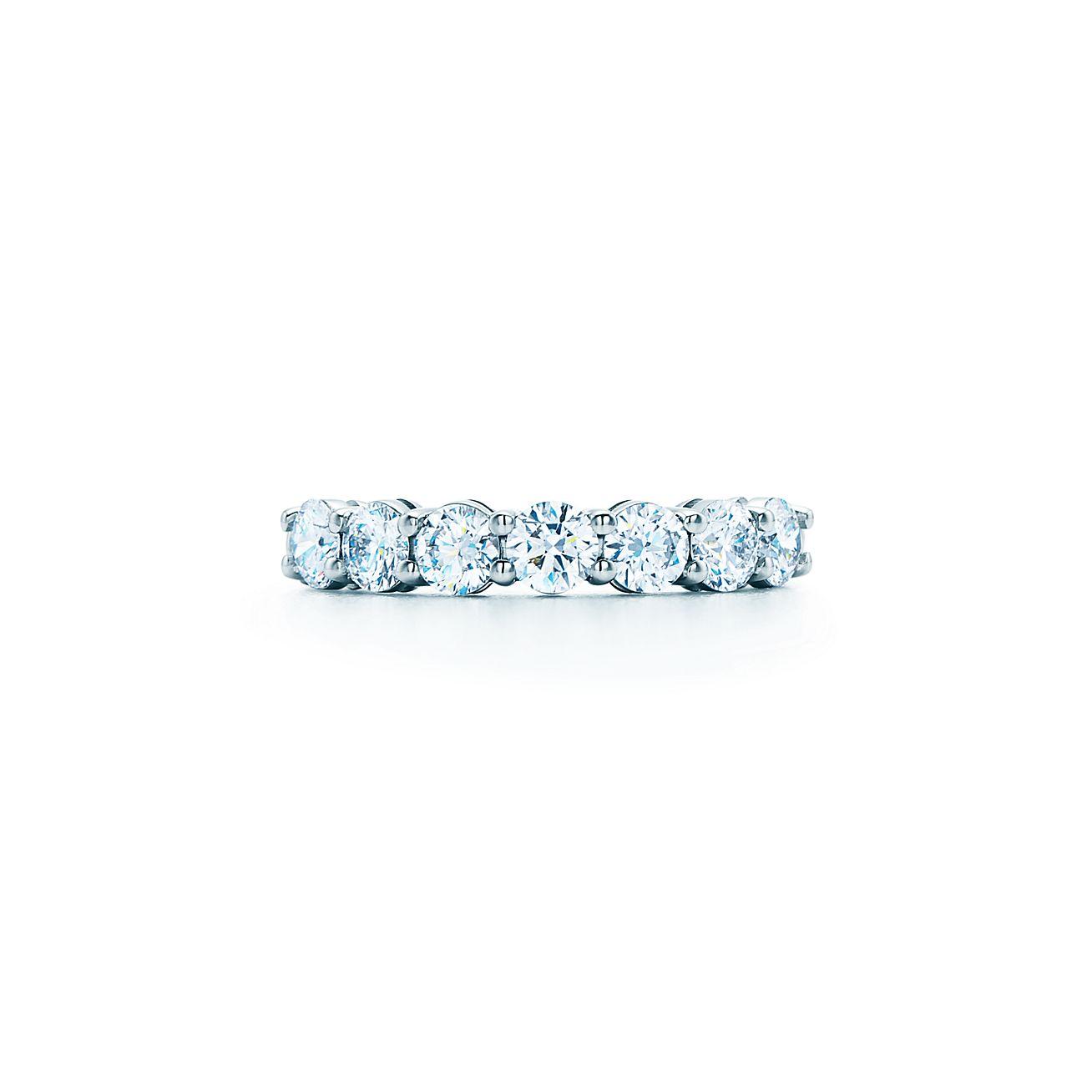 shared setting band ring diamonds platinum 3 5mm