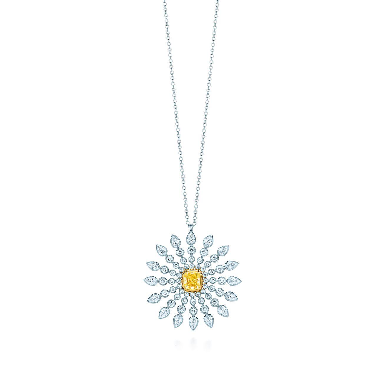 Sunburst pendant in platinum and 18k gold with a tiffany yellow sunburst pendant aloadofball Images