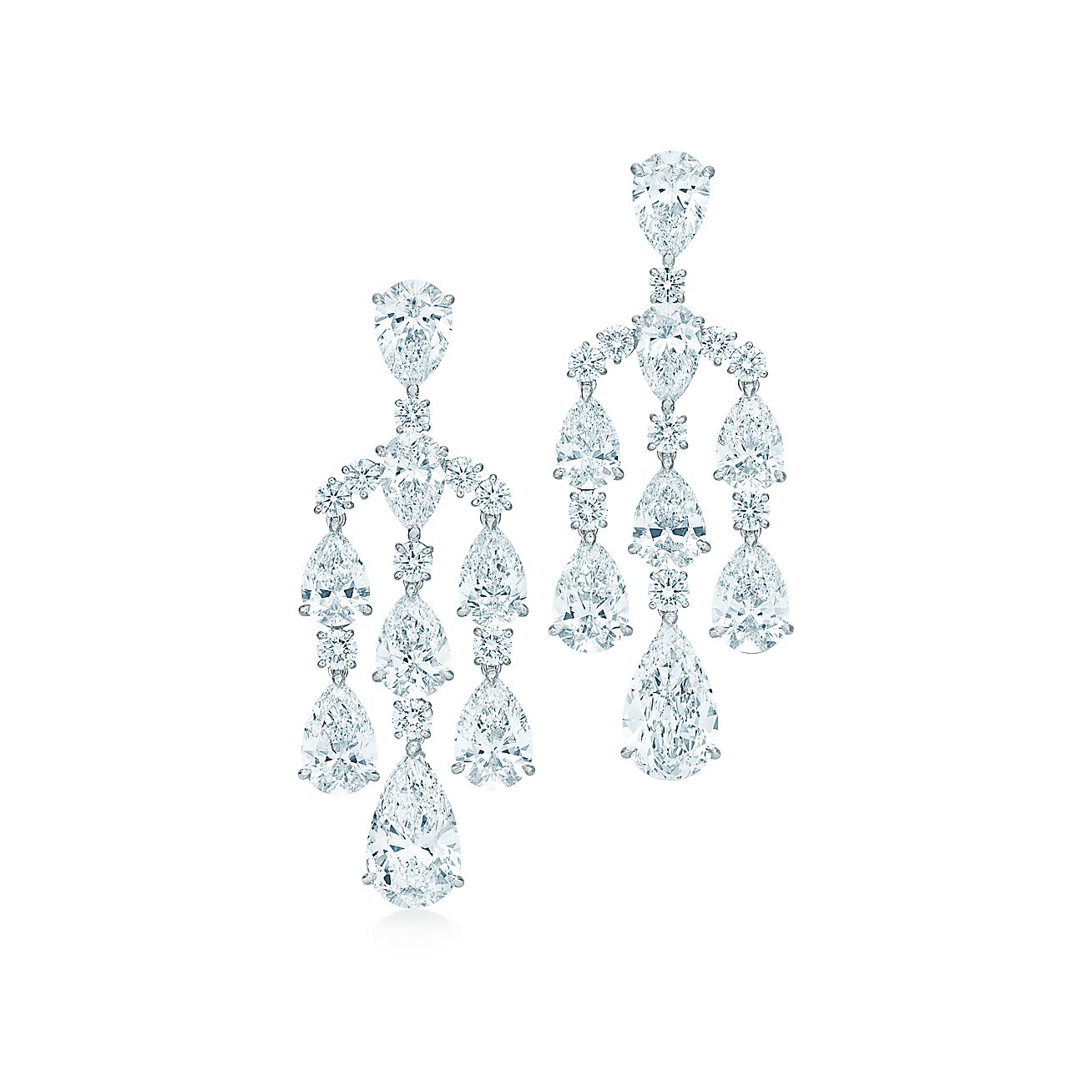 The Gatsby Collection chandelier earrings in platinum with