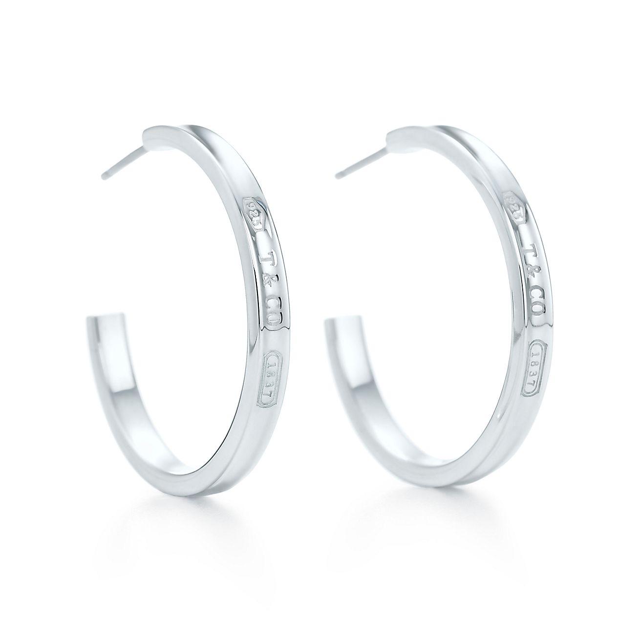 Jewelry Earrings Tiffany 1837 Hoop Earrings 25132807 Tiffany Earrings Sterling