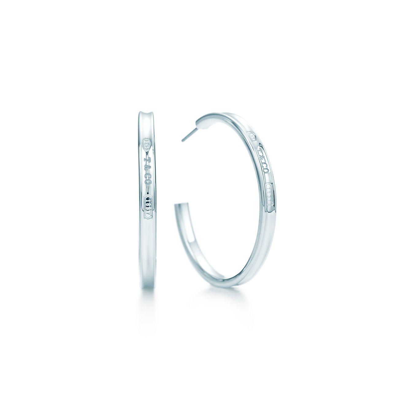 tiffany 1837 narrow hoop earrings in sterling silver