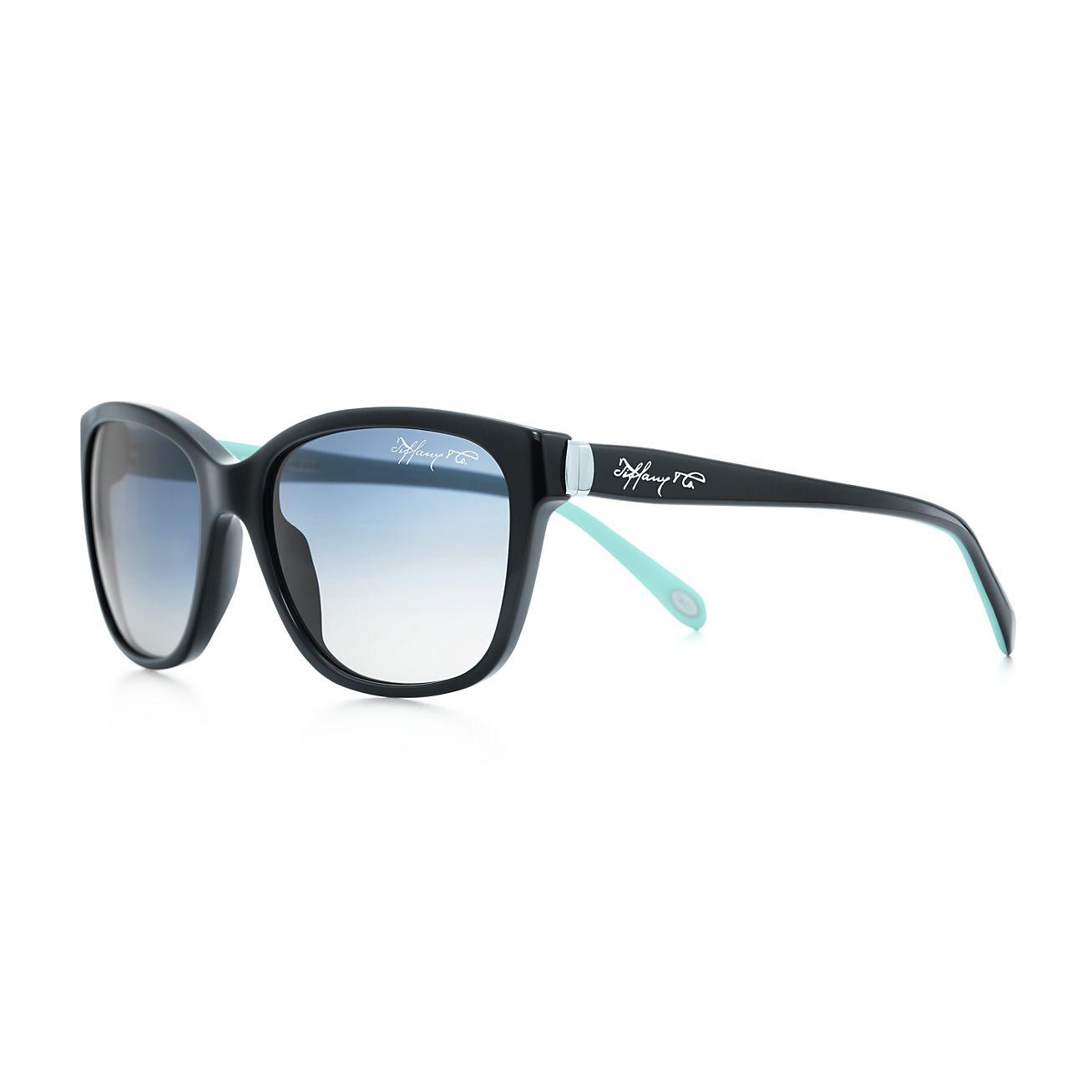 Tiffany 1837™ square sunglasses in black and Tiffany Blue ...