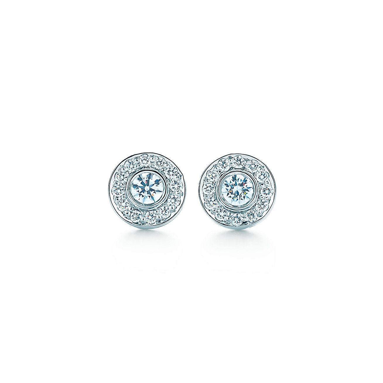 Tiffany Circlet Earrings With Diamonds In Platinum Mini