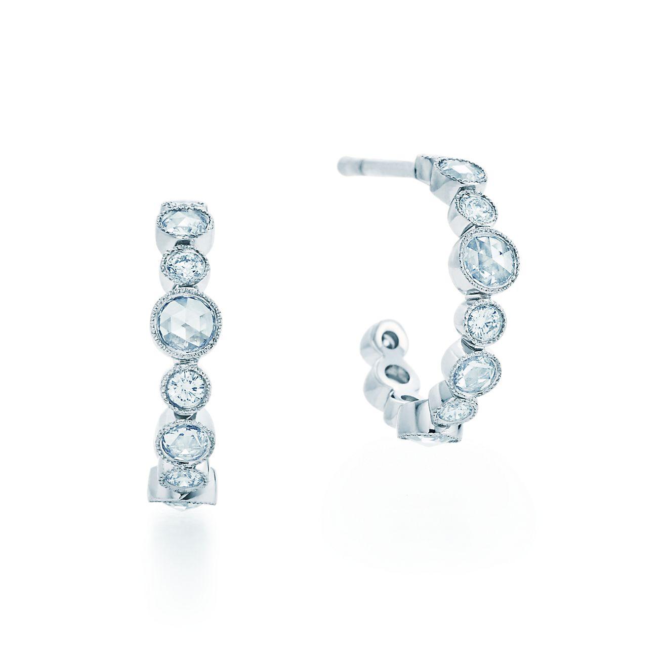 tiffany cobblestone hoop earrings in platinum with