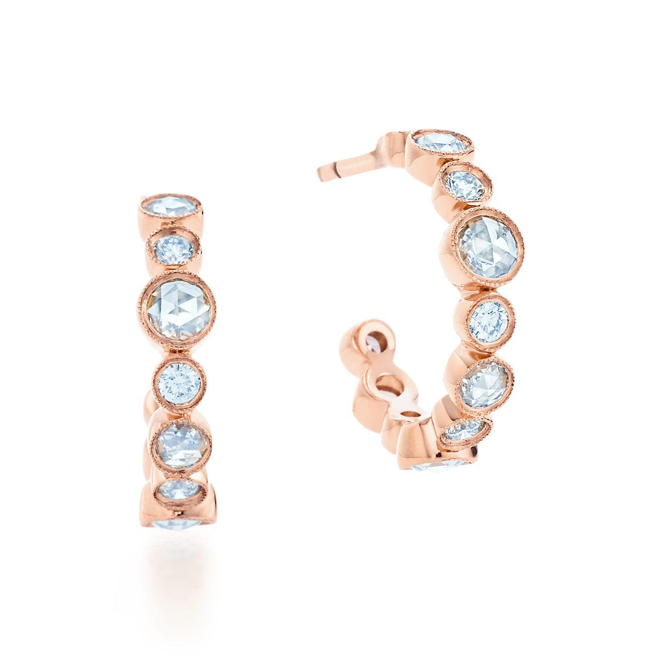 tiffany cobblestone hoop earrings in 18k rose gold with