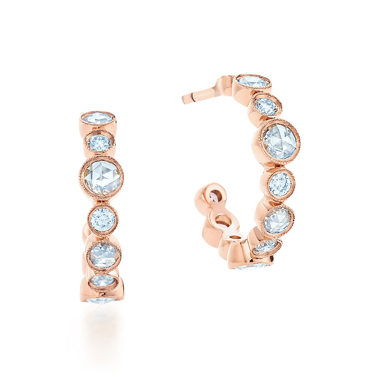 Tiffany Cobblestone:Diamond Hoop Earrings