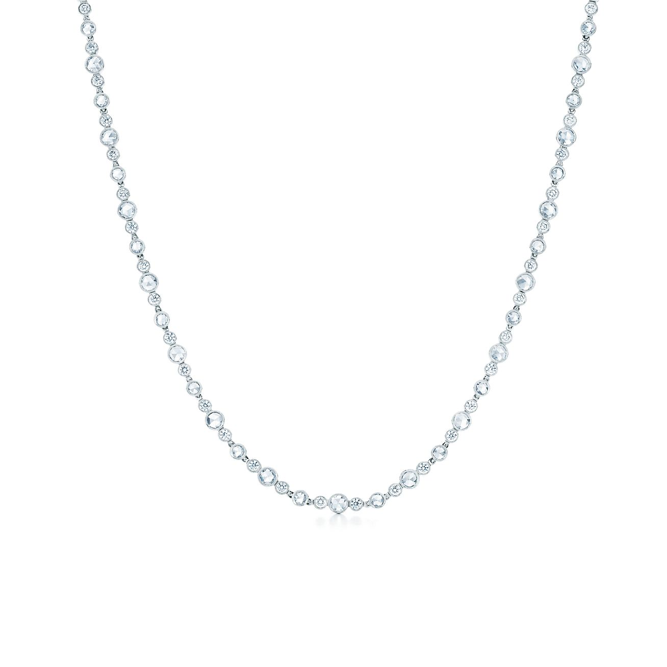 tiffany cobblestone diamond necklace in platinum with