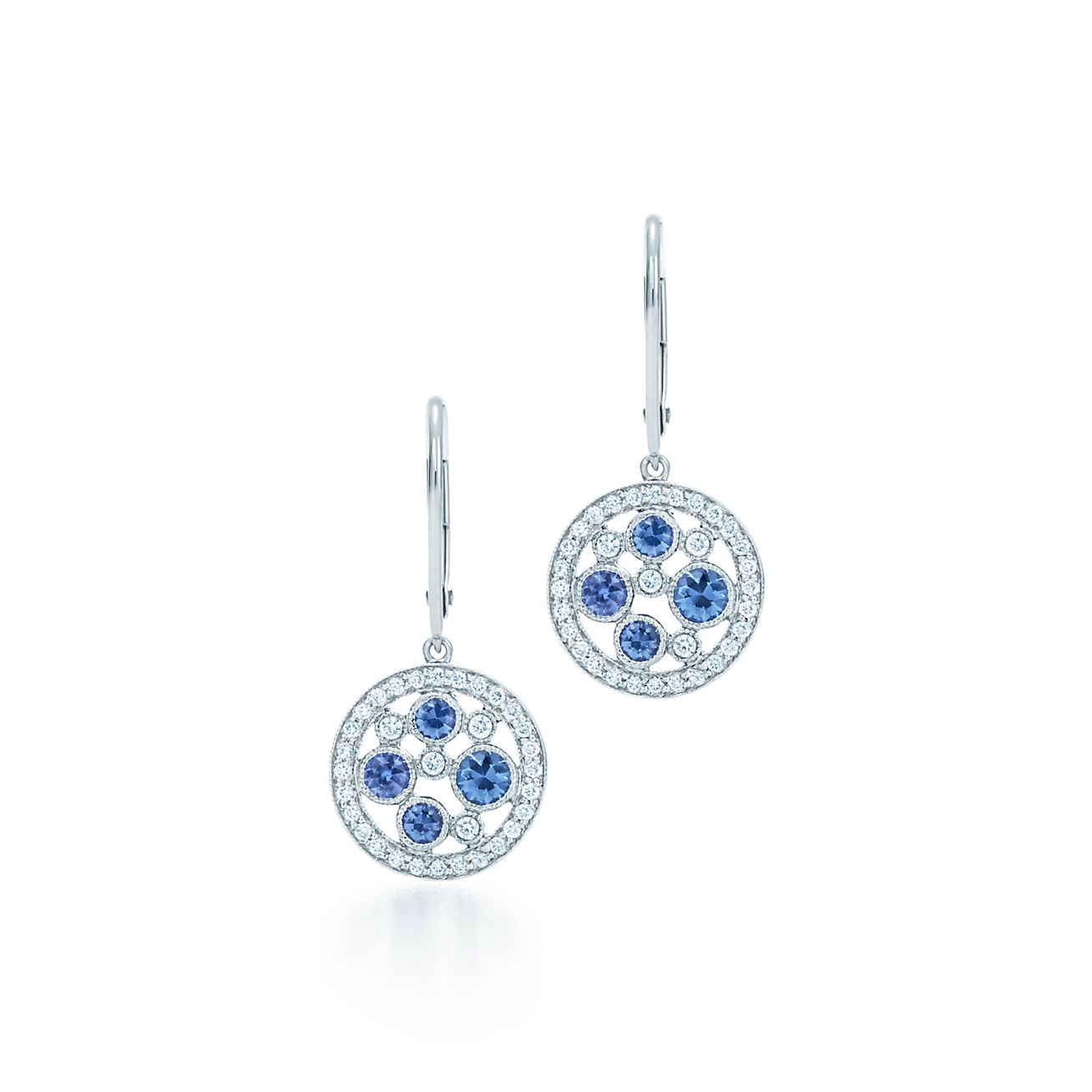 94ed25782 ... diamond earrings; tiffany cobblestone earrings in platinum with montana  sapphires. tiffany co. ...