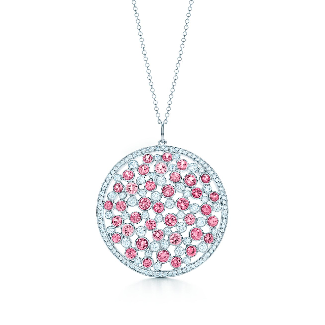 Tiffany Cobblestone Pendant In Platinum With Pink