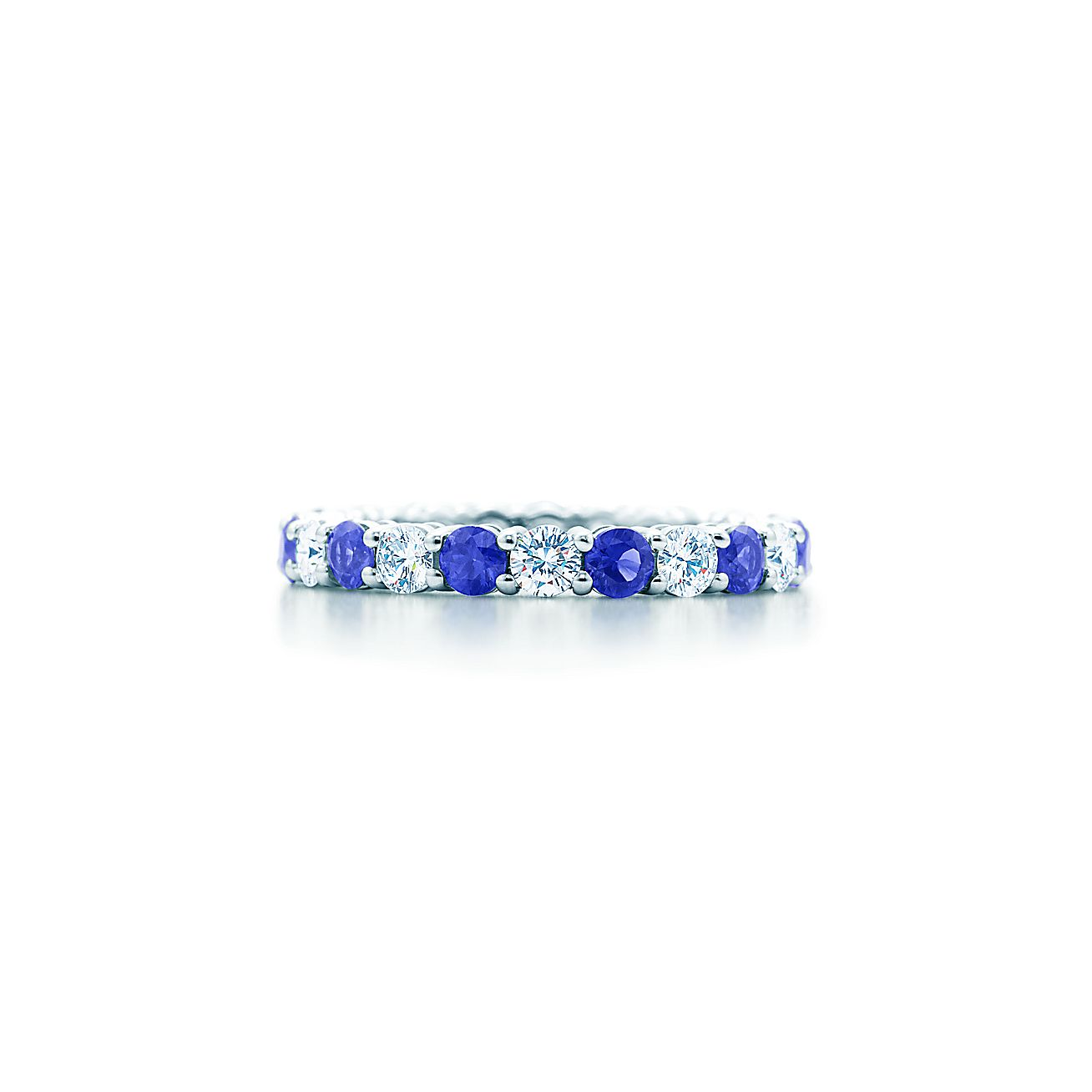 Tiffany Embrace® Band Ring In Platinum With Sapphires And Diamonds, 3 Mm  Wide  Tiffany & Co