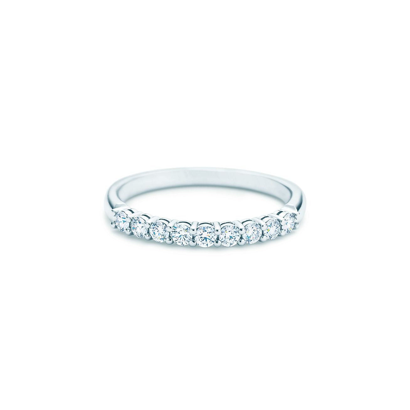 Tiffany Embrace Band Ring In Platinum With Diamonds 2 Mm Wide Co