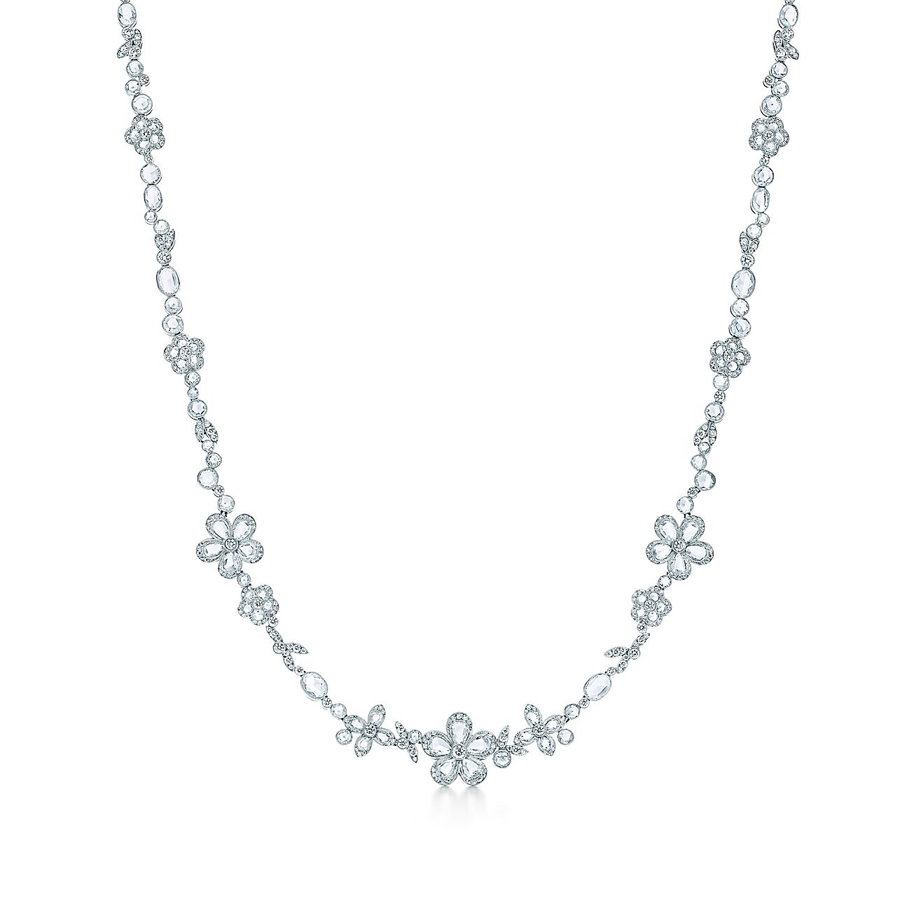 Tiffany Enchant® flower necklace in platinum with diamonds