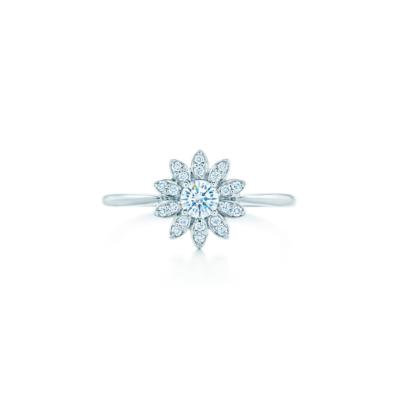 Tiffany Enchant flower ring in platinum with diamonds