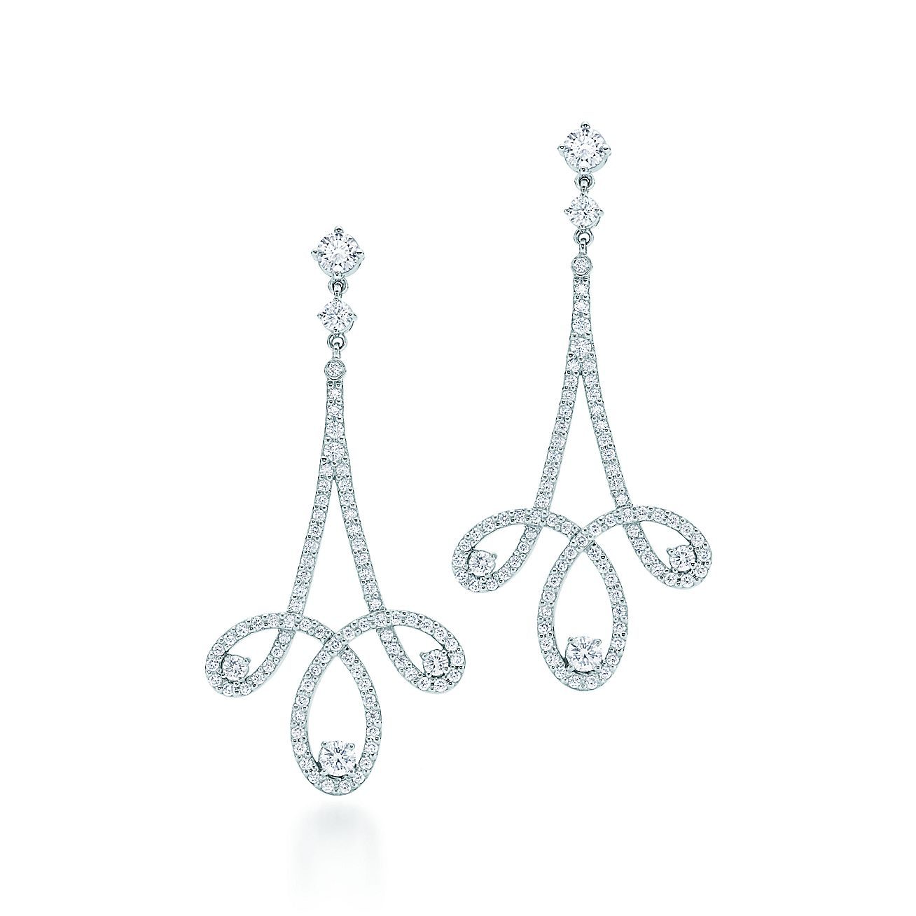Tiffany Enchant® scroll earrings in platinum with diamonds