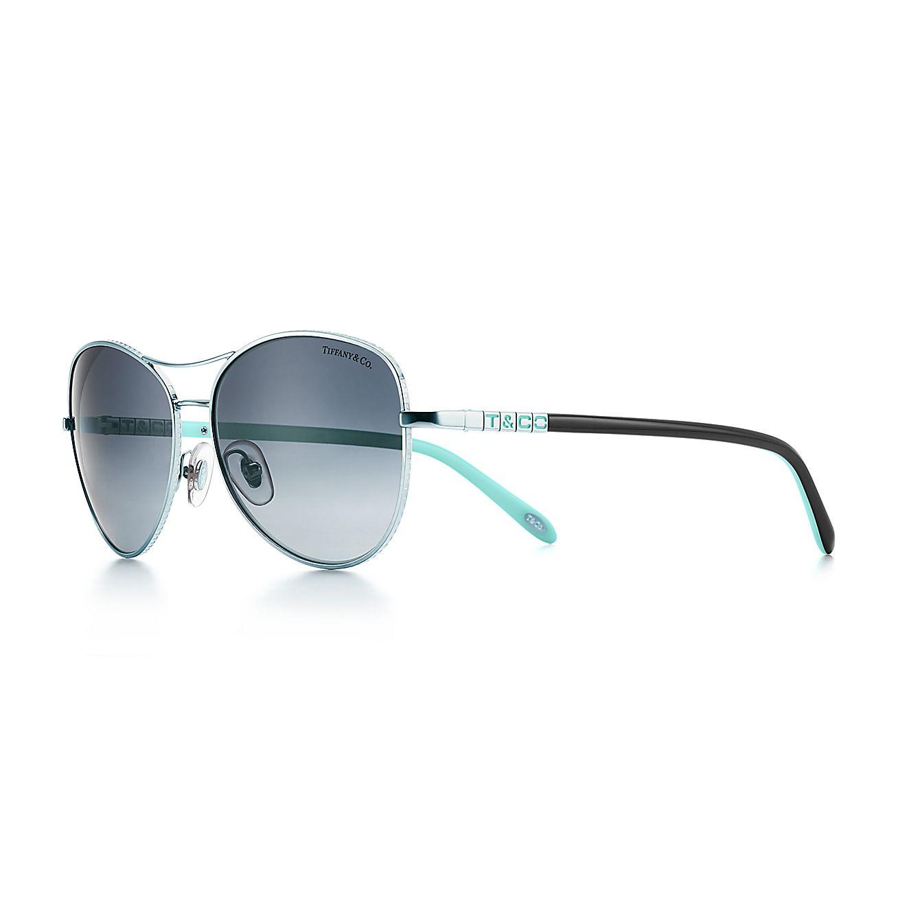 Tiffany Era Aviator Sunglasses In Silver Colored Metal With Polarized Lenses