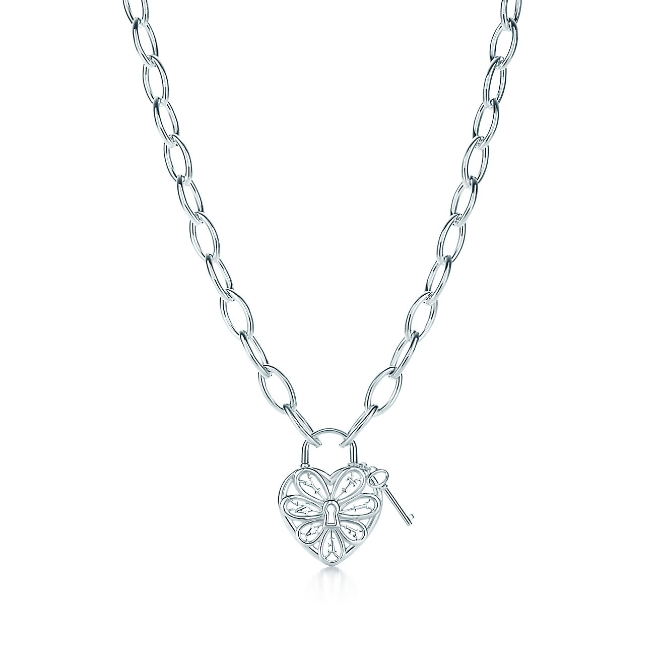 Tiffany Filigree Heart necklace with key in sterling