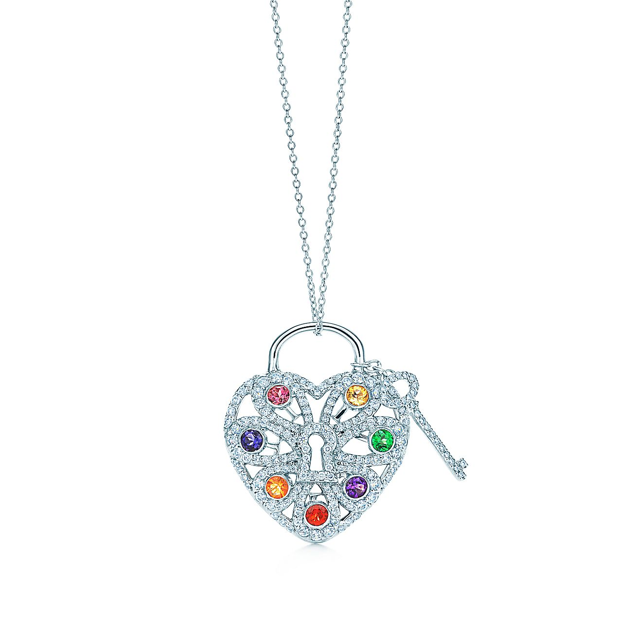 Tiffany Filigree Heart:Pendant with Key
