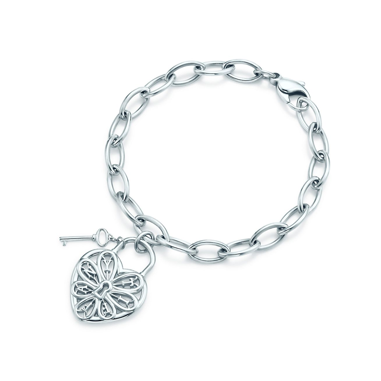 Tiffany Filigree Heart And Tag Bracelet With Key In Sterling