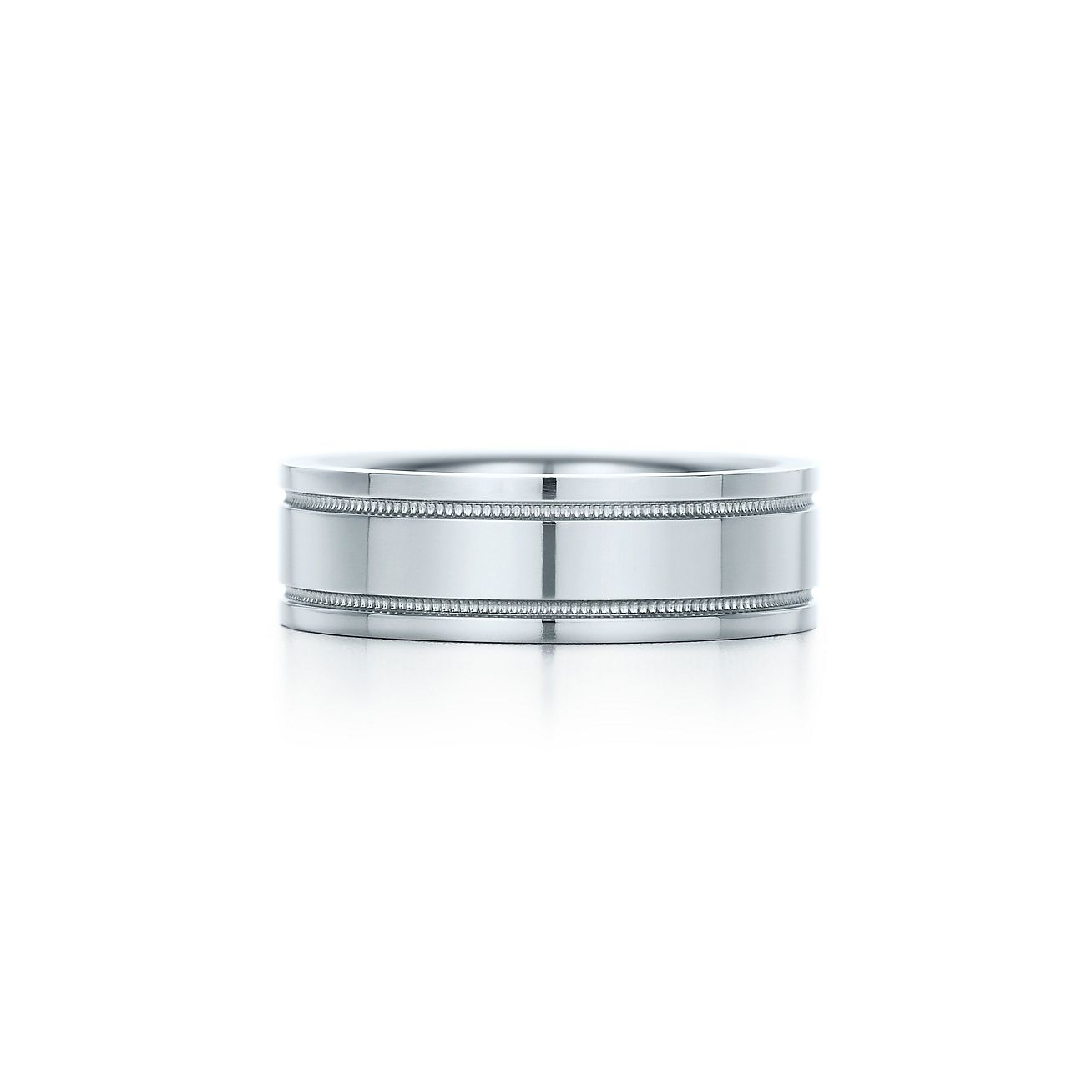tiffany flat double milgrain wedding band ring in platinum 6 mm wide tiffany co - Double Band Wedding Ring