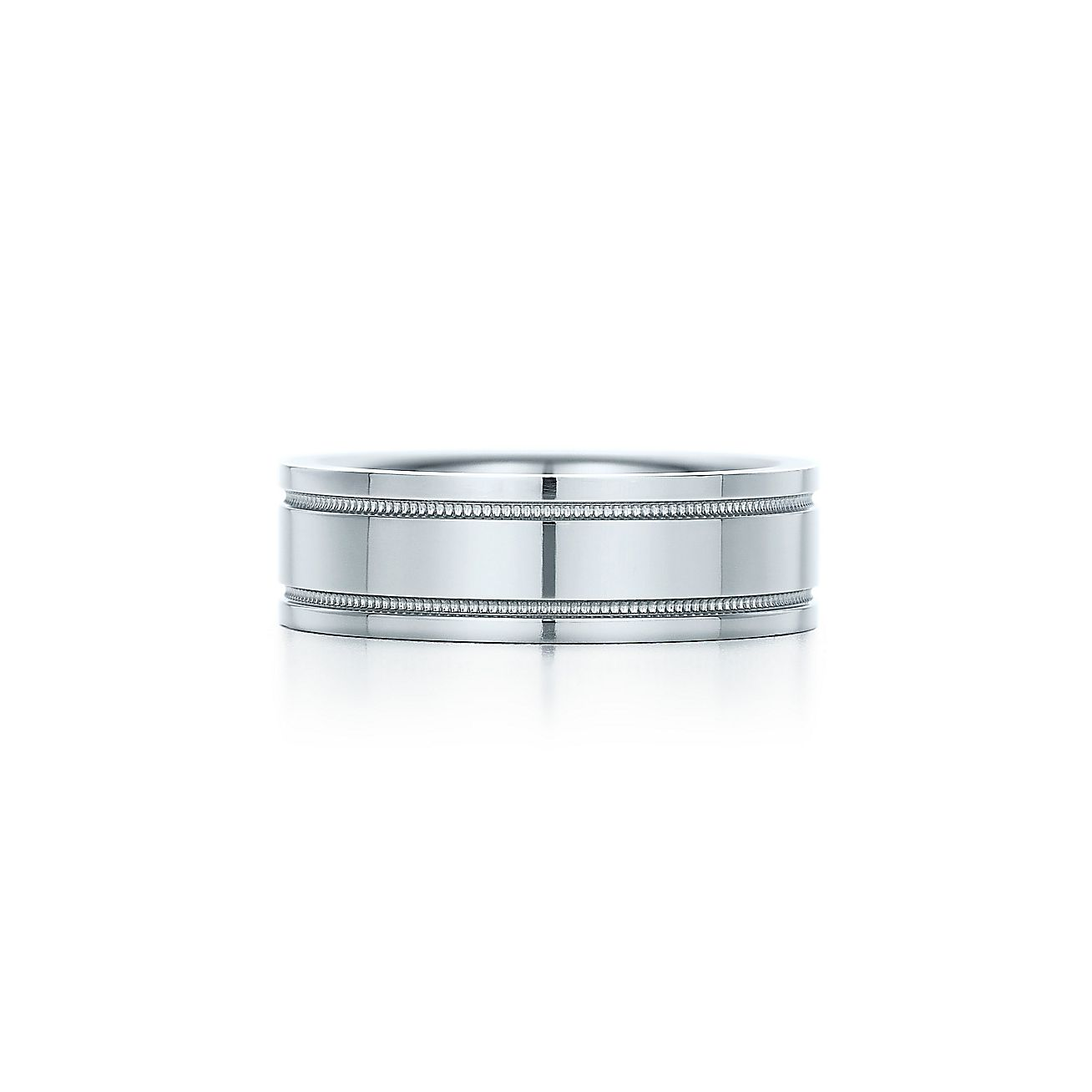 Tiffany flat double milgrain wedding band ring in platinum 6 mm tiffany flat double milgrain wedding band ring in platinum 6 mm wide tiffany co junglespirit Image collections