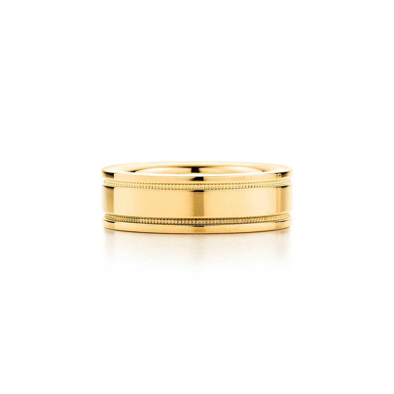 Tiffany flat double milgrain wedding band ring in 18k gold 6 mm deletelarge tiffany flat doublebrmilgrain weddingbrband junglespirit Image collections